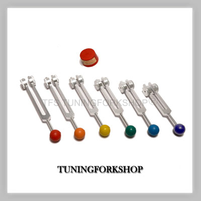 6 Sacred Solfeggio Tuning Forks with color balls