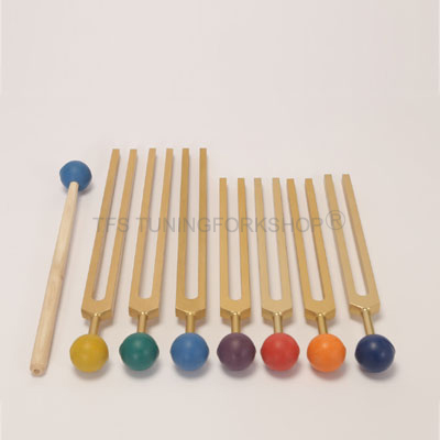 Gold Finish 7 Chakra Tuning Fork Set with color balls